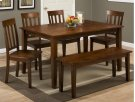 Simplicity Caramel Rectangle Dining Table With Four Slat Back Dining Chairs and Bench Product Image