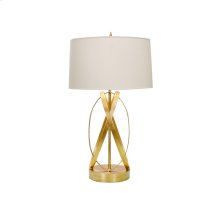 "Gold Leafed Ovals Lamp Base With 15"" Parchment Shade Ul Approved for One 60 Watt Bulb"