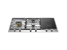 36 Segmented Cooktop 3-burner and 2 induction zones Stainless