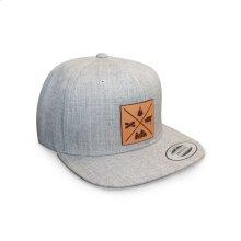 GMG Heather Grey Snapback Hat w/ Leather Patch