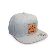 GMG Heather Grey Snapback Hat w/ Leather Patch