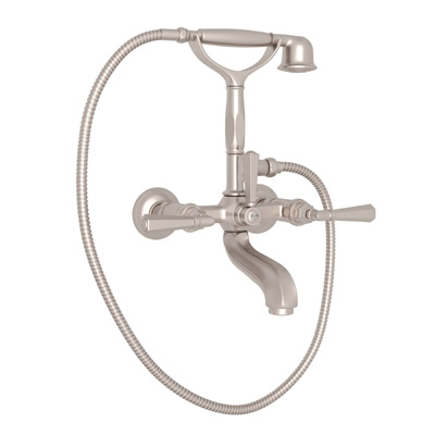 Satin Nickel Palladian Exposed Tub Set With Handshower with Palladian Metal Lever