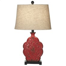 Distressed Red Medallion Table Lamp. 60W Max.