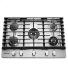 "KitchenAid® 30"" 5-Burner Gas Cooktop with Griddle - Stainless Steel Product Image"