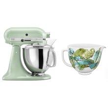 Exclusive Artisan® Series Stand Mixer & Patterned Ceramic Bowl Set - Pistachio
