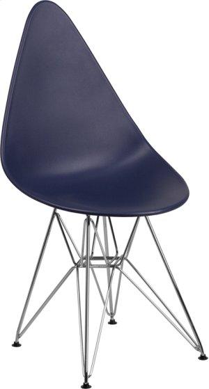 Allegra Series Teardrop Navy Plastic Chair with Chrome Base