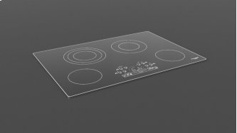 """30"""" Radiant Cooktop With Brushed Aluminum Trim - Black Glass"""