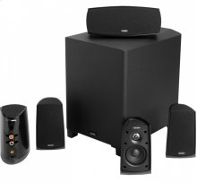 Six piece, 5.1 channel versatile and compact home theater speaker system