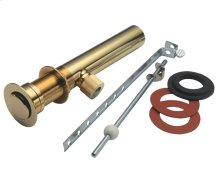 Fully Polished Standard Lavatory Lift Rod Pop-Up Drain - Antique Brass