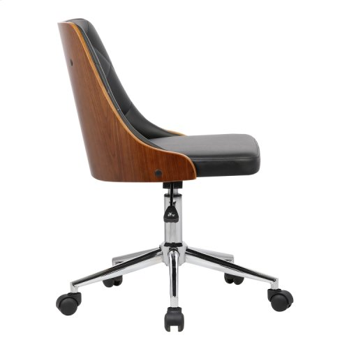 Armen Living Diamond Mid-Century Office Chair in Chrome finish with Tufted Black Faux Leather and Walnut Veneer Back