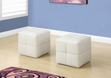 OTTOMAN - 2PCS SET / JUVENILE / WHITE LEATHER-LOOK