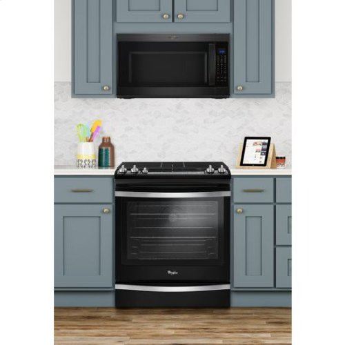 Whirlpool® 5.8 Cu. Ft. Slide-In Gas Range with EZ-2-Lift Hinged Grates - Black Ice