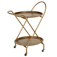Antique Gold Two Tier Round Bar Cart.