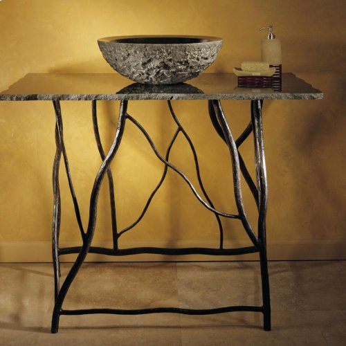Iron Branch Console With Top Carrara Marble