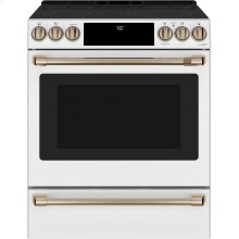 """Café 30"""" Slide-In Front Control Radiant and Convection Range with Warming Drawer"""
