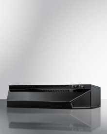 24 Inch Wide Convertible Range Hood for Ducted or Ductless Use In Black Finish