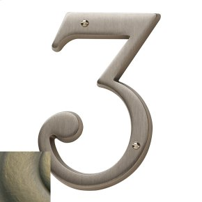 Satin Brass and Black House Number - 3