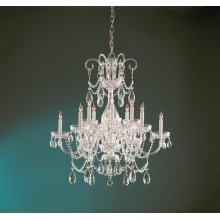 Traditional Crystal 12 Light Crystal Brass Chandelier