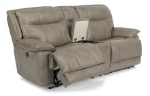 Bliss Fabric Power Reclining Loveseat with Console
