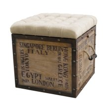 Tufted City Crate Storage Ottoman