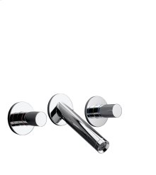 Chrome 3-hole basin mixer for concealed installation wall-mounted with spout 125 mm