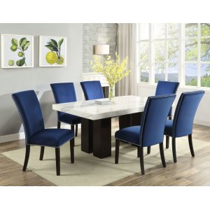 Steve Silver Co.Camila White Marble Top Rectangular Dining Table(Mix or Match Chairs)