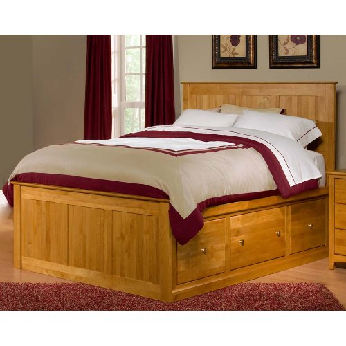 Alder Shaker Storage Bed 3 Large Drawers each Side QUEEN