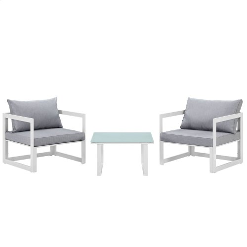 Fortuna 3 Piece Outdoor Patio Sectional Sofa Set in White Gray
