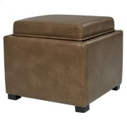 Cameron Square Bonded Leather Storage Ottoman w/ tray, Molasses Product Image