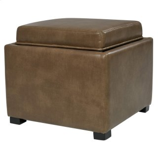 Cameron Square Bonded Leather Storage Ottoman w/ tray, Molasses