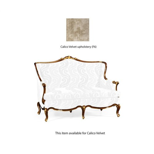 Two Seater Sofa with Gilded Carving, Upholstered in Calico Velvet