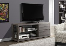 """TV STAND - 60""""L / DARK TAUPE WITH TEMPERED GLASS"""