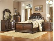 Queen Bed with Bi-cast Leather Heaboard