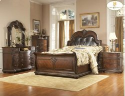 King Bed with Bi-cast Leather Headboard