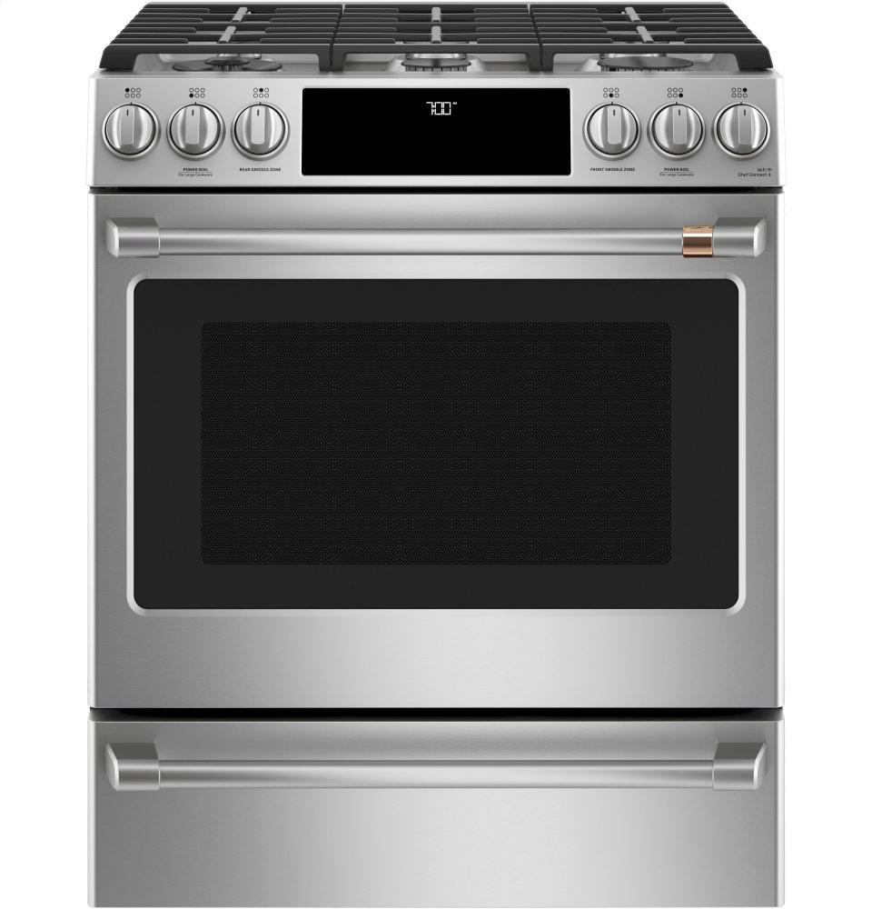 """Cafe Appliances30"""" Slide-In Front Control Gas Oven With Convection Range"""