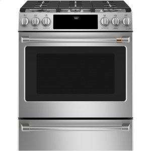 "Cafe30"" Slide-In Front Control Gas Oven with Convection Range"