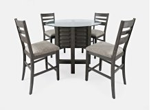 Altamonte Round Counter Table With 4 Ladderback Stools - Brushed Grey