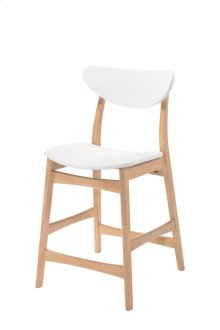 2-pack Barstool Wood Back W/uph Pu Seat White Rta