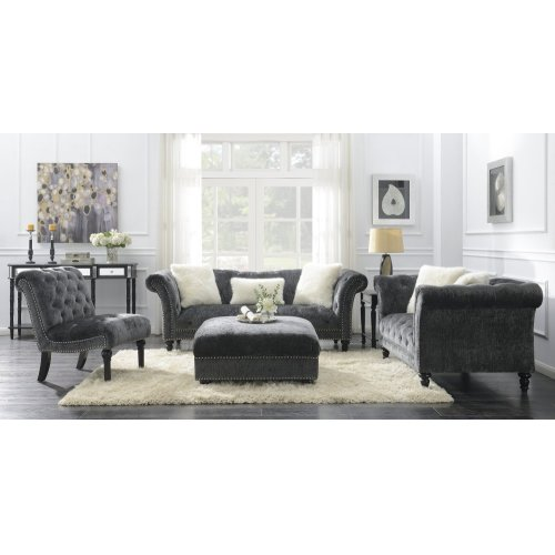Emerald Home Hutton II Chair Nailhead Charcoal U3164-15-53