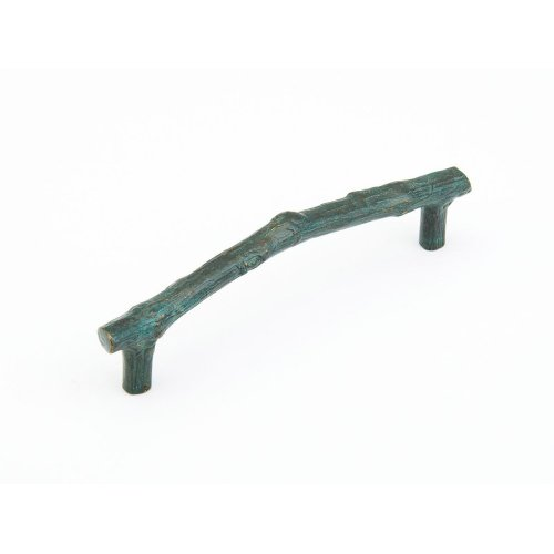 "Solid Bronze, Cast Bronze Mountain, Pull, 6""cc, Verde Imperiale finish"