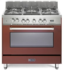 "36"" Dual Fuel Single Oven Range Burgundy - 4"" B/G"