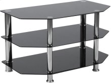 North Beach Black Glass TV Stand with Stainless Steel Metal Frame