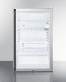 """Commercially Listed 20"""" Wide Glass Door All-refrigerator for Freestanding Use, Auto Defrost With A Lock, Full-length Handle, and White Cabinet"""