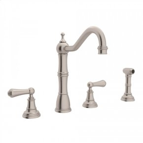 Satin Nickel Perrin & Rowe Edwardian 4-Hole Kitchen Faucet With Sidespray with Metal Lever