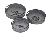 TY Honeybee Galvanized Decorative Trays - Set of 3