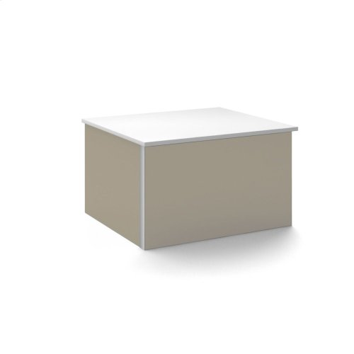 """V14 24-1/4"""" X 14"""" X 21"""" Wall-mount Vanity In Satin Bronze With Push-to-open Full Storage Drawer and Night Light"""
