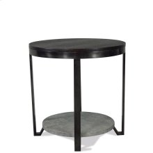Round Side Table - Weathered Worn Black Finish