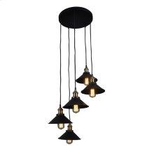Renata Circular 5 Light Pendant Lamp Black