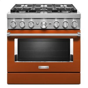 KitchenAidKitchenAid® 36'' Smart Commercial-Style Dual Fuel Range with 6 Burners - Scorched Orange