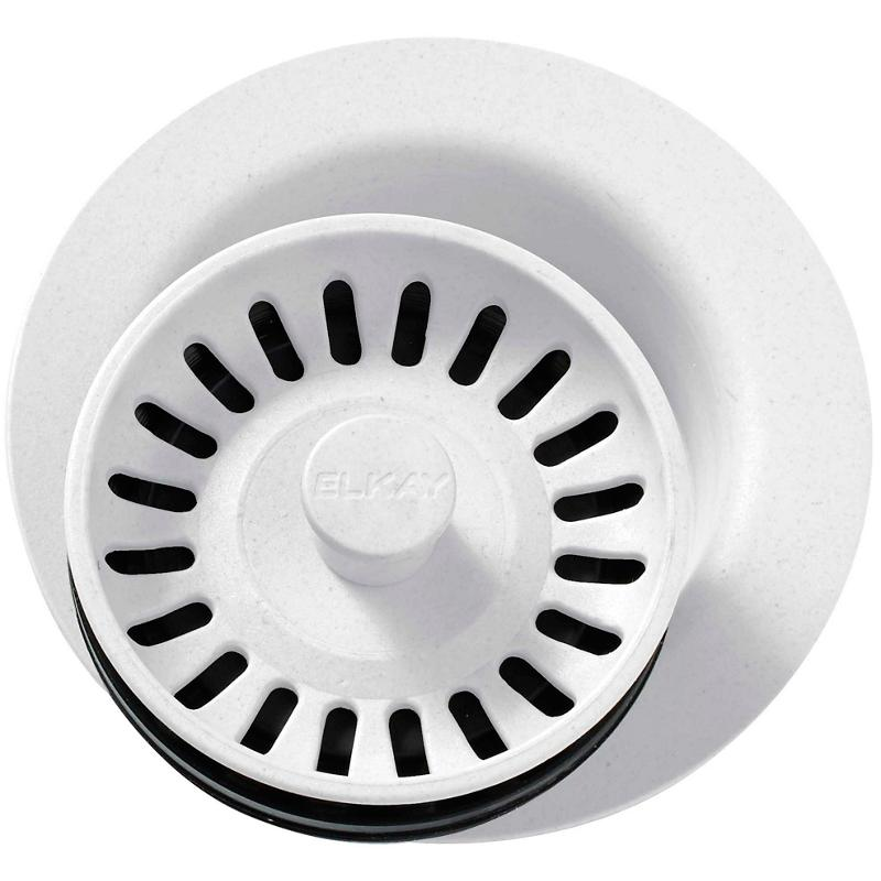 """Elkay Polymer 3-1/2"""" Disposer Flange with Removable Basket Strainer and Rubber Stopper White"""